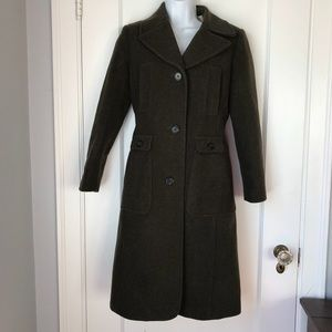 J. Crew Wool/Cashmere Olive Winter Trench Coat